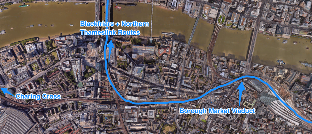 The changes to North - South Thameslink Routes due to the Thameslink Programme due to be finished in 2018. (Google Earth)