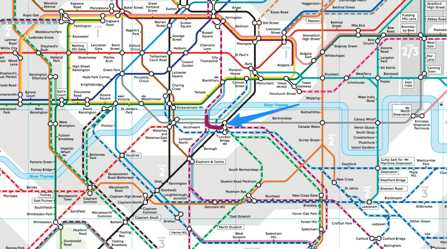 Crudely edited version of  the TfL tube and rail map found here