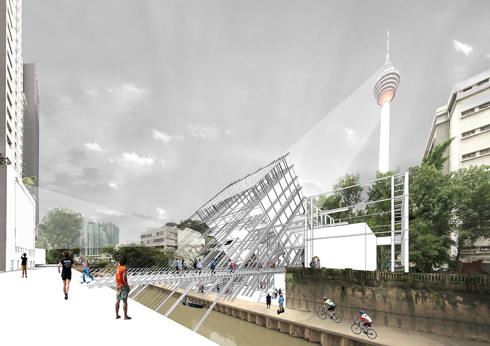 吉隆坡河濱剧场表演艺术中心 - 河旁一楼透视圖