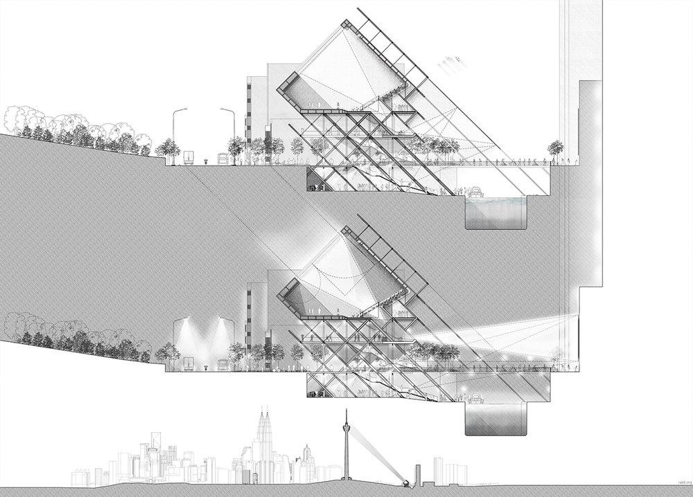 吉隆坡河濱剧场表演艺术中心 - 剖面图