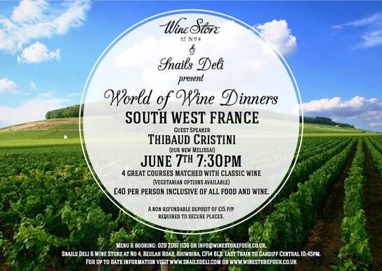 Soirée spéciale vins du Sud Ouest à CARDIFF en 2014..
