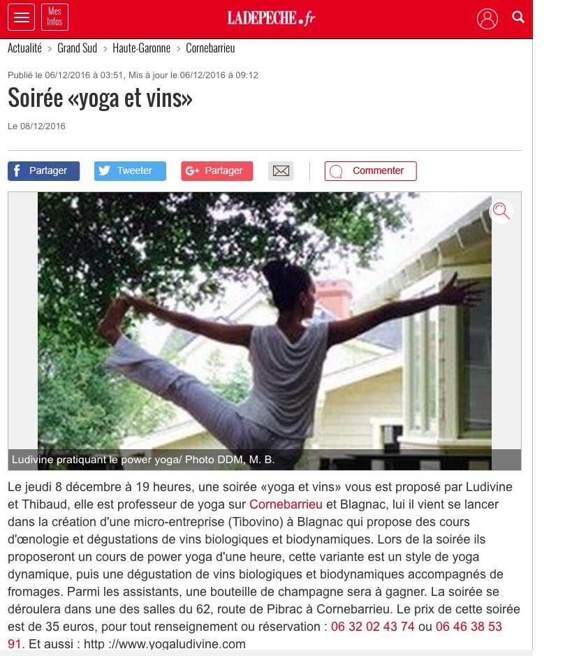 Article de La Depèche sur notre soirée yoga et vins à Cornebarrieu