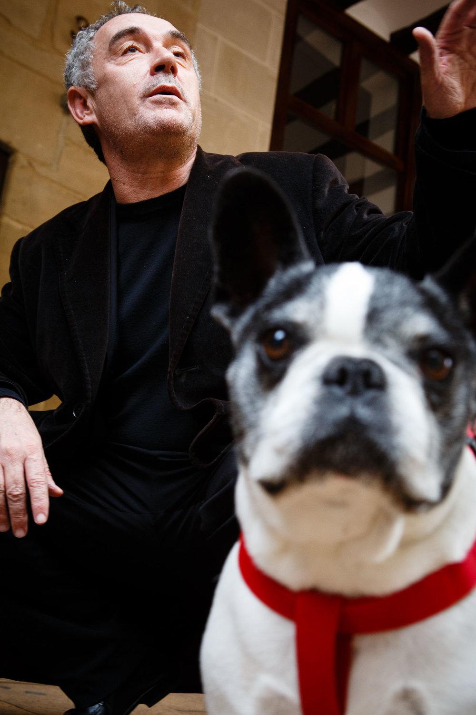 15/12/12 Ferran Adrià, con un perro bullí en Logroño, La Rioja. Foto por James Sturcke | www.sturcke.org