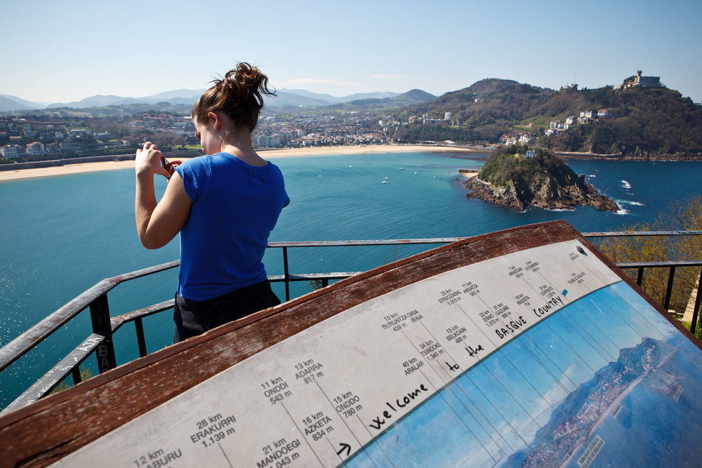 Photographing the view from Monte Urgull,  San Sebastián, Spain.