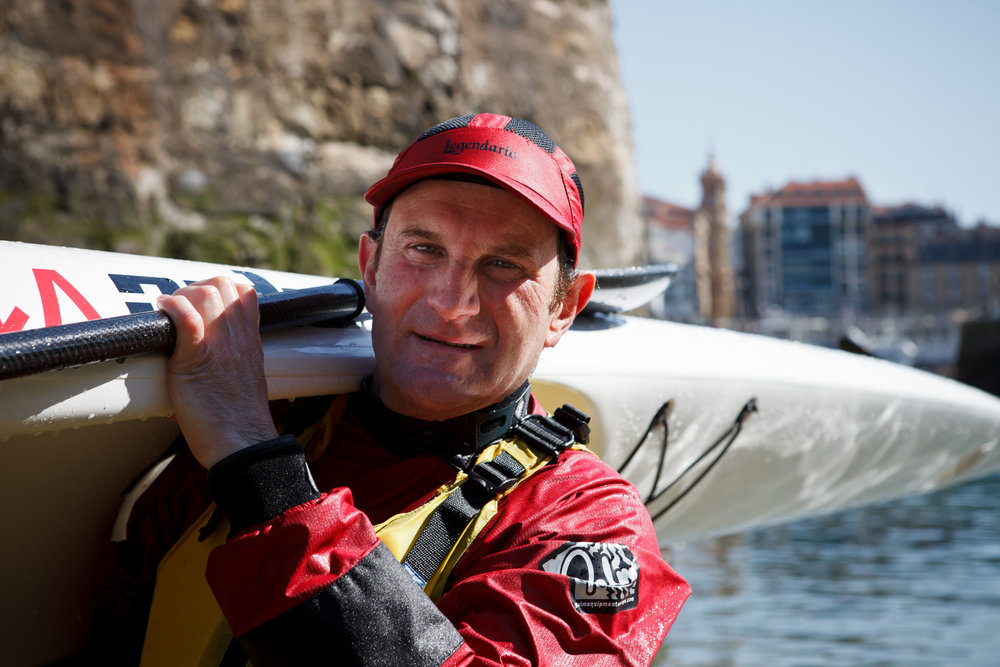 Felix, a canoeist after arriving in port,  San Sebastián, Spain.