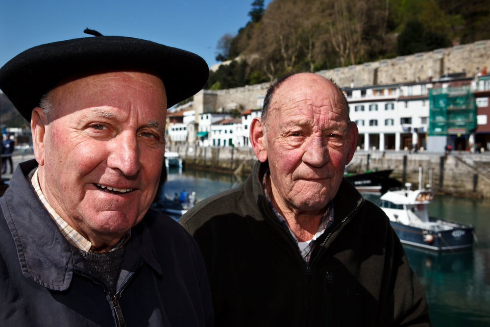 Retired fishermen, Miguel (left) and Inocencio,  San Sebastián, Spain.