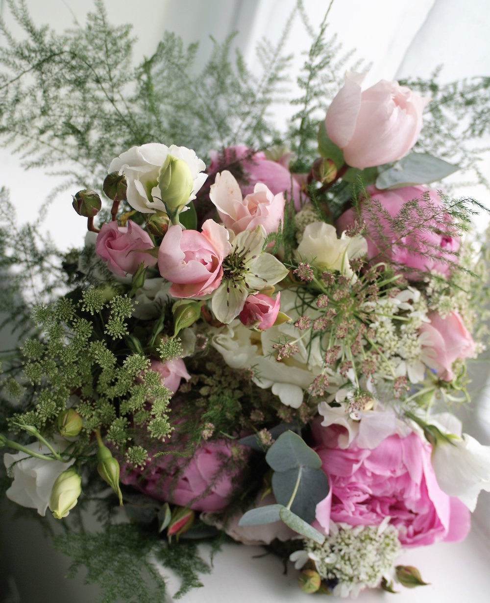 Photograph by permission of Rachael Woods.   This bouquet was created for a late June wedding.