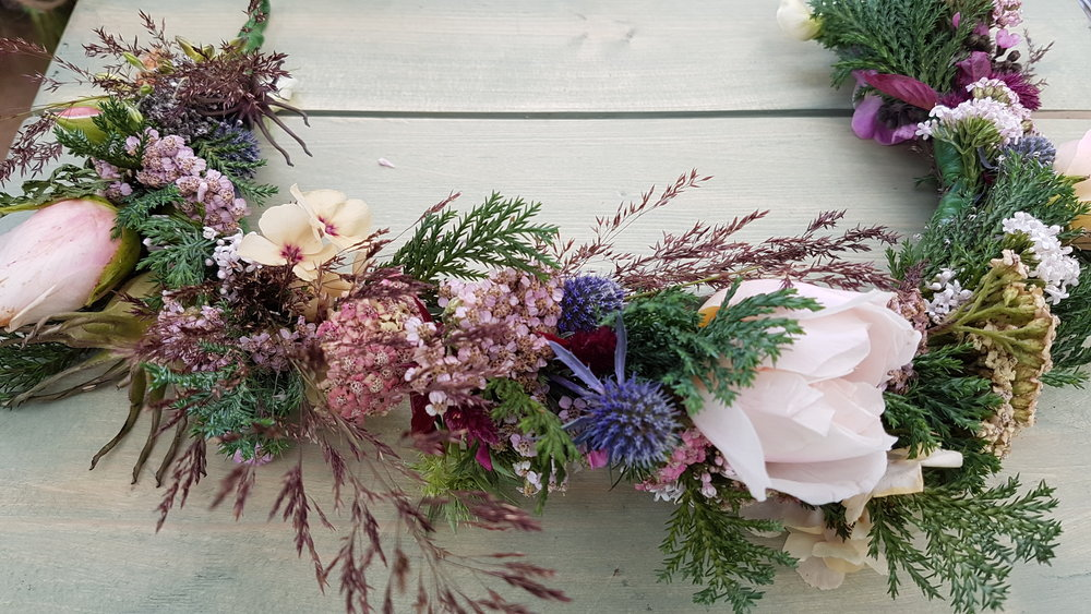You can join us and learn how to make your own floral crowns or bouquets and buttonholes in a bespoke wedding flower workshop or contact us for the date of  Grow & Style Your Own Wedding Flowers workshop.
