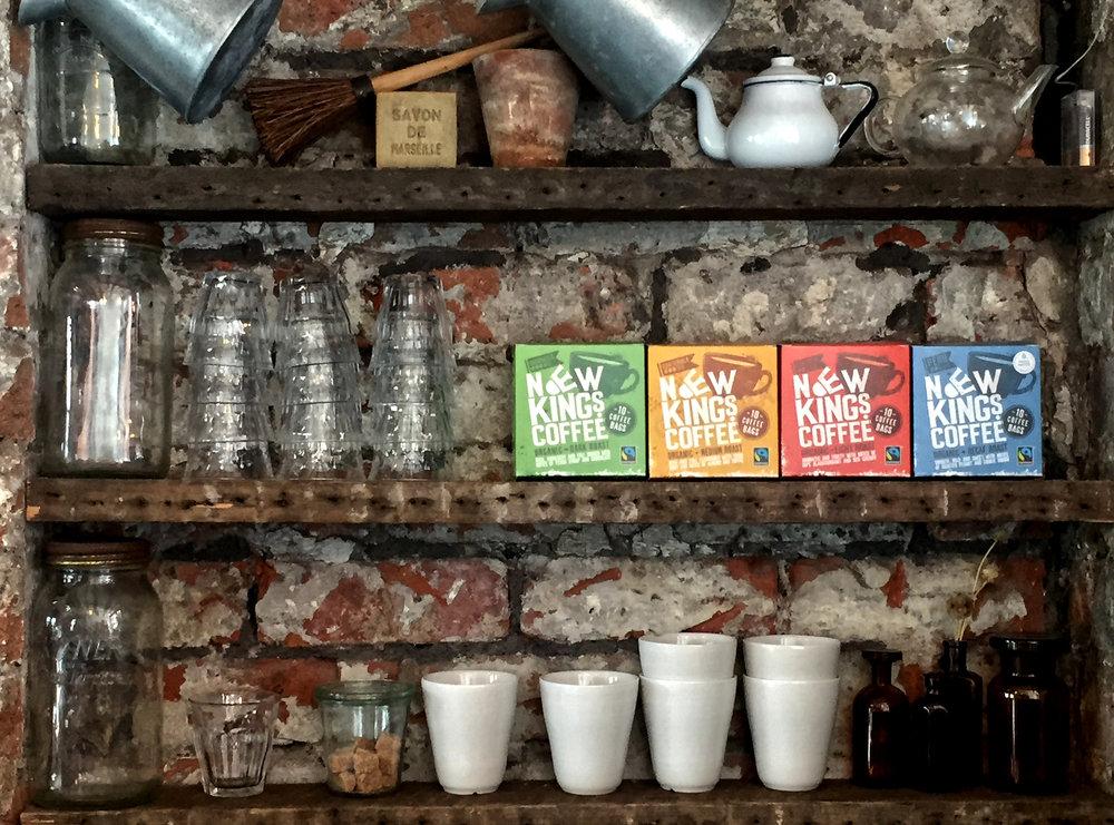 New Kings Coffee Bags Fairtrade Organic Selection on Shelf