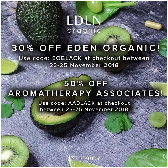 Black Friday is here | Save 30% OFF all purchases and 50% OFF all Aromatherapy Assoicates until 26th November 2018!  Links in bio 👆  #edenorganic #blackfriday