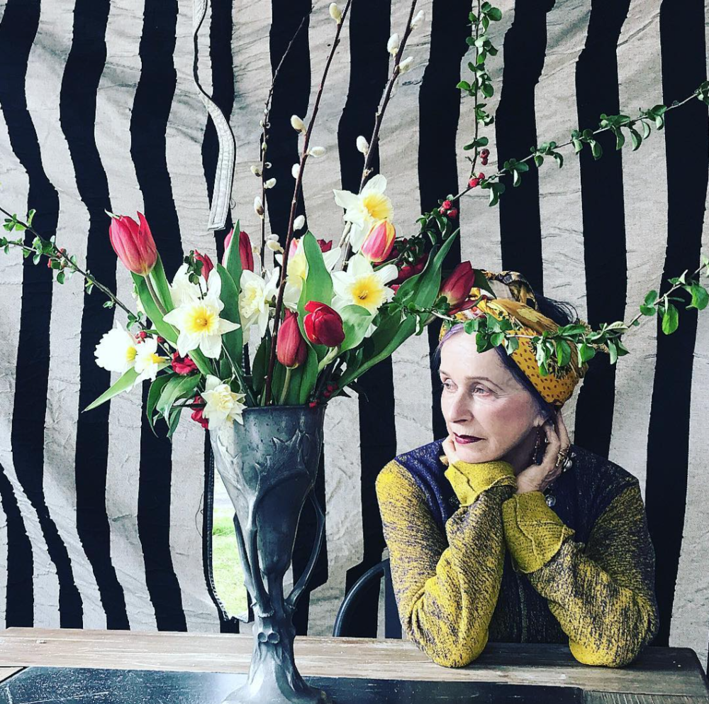 Beatrix Ost in Heti's Colours Sophia, Yellow - 100cm Square Silk Satin Scarf