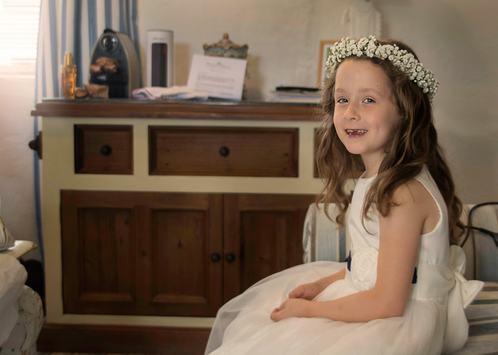 Flower girl getting ready | Pentre Mawr wedding