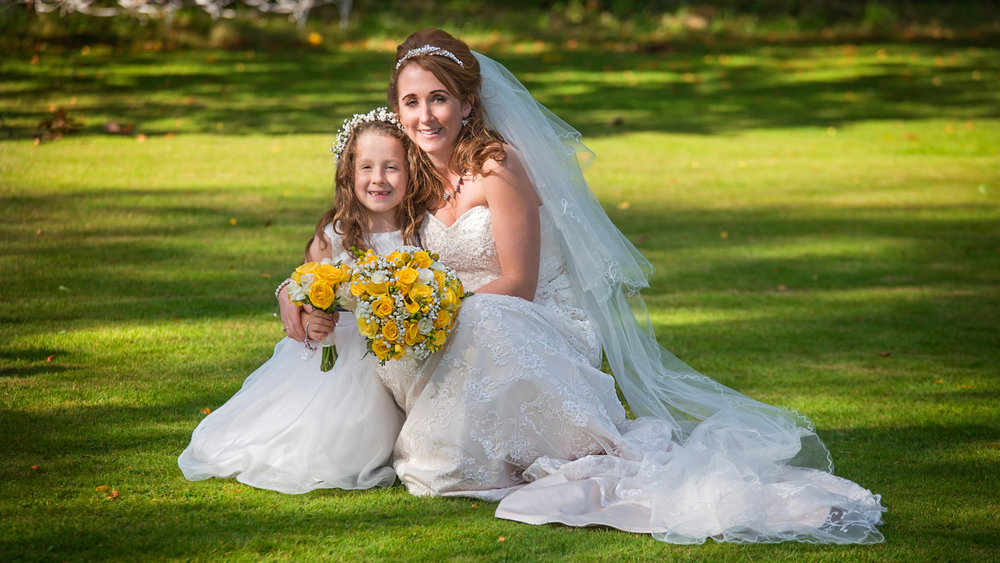 Bride and Flower Girl | Pentre Mawr