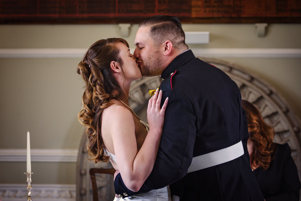 Bride and Groom first kiss in the beautiful Arundel Town Hall venue