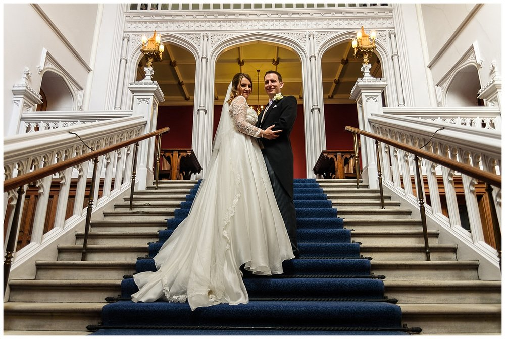 Bride and Groom | Staircase | Lambeth Palace | Surrey and London Wedding Photographer