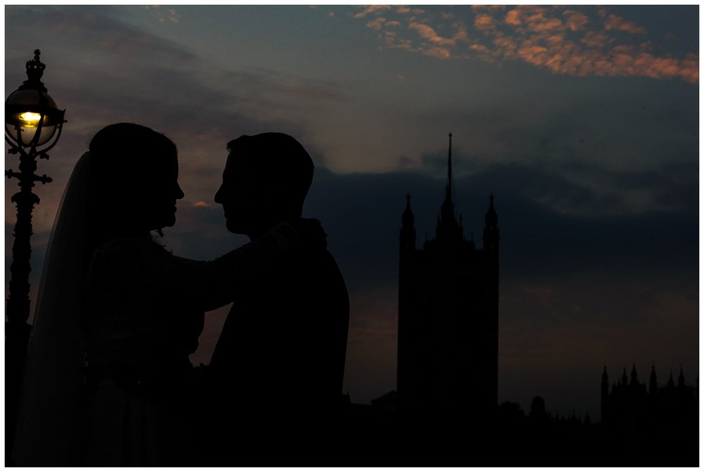 Bride and Groom | Beautiful London Skys | Surrey and London Wedding Photographer