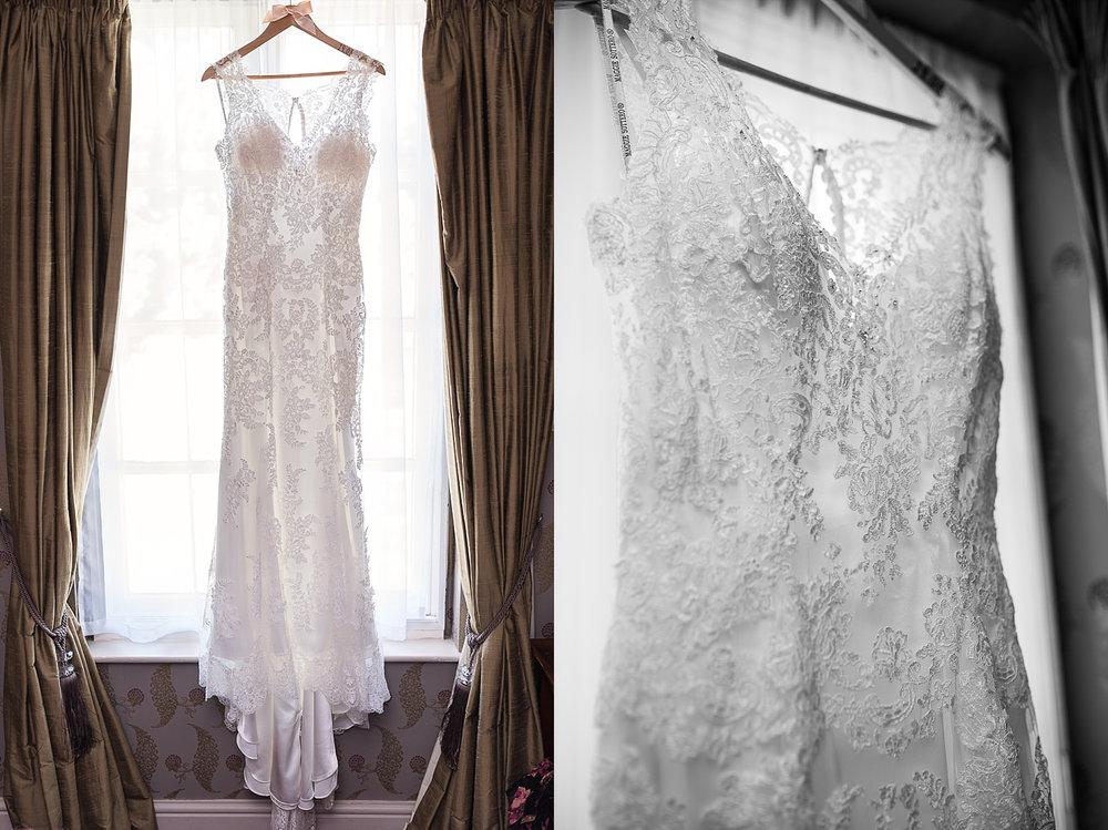wedding dress portrait in window