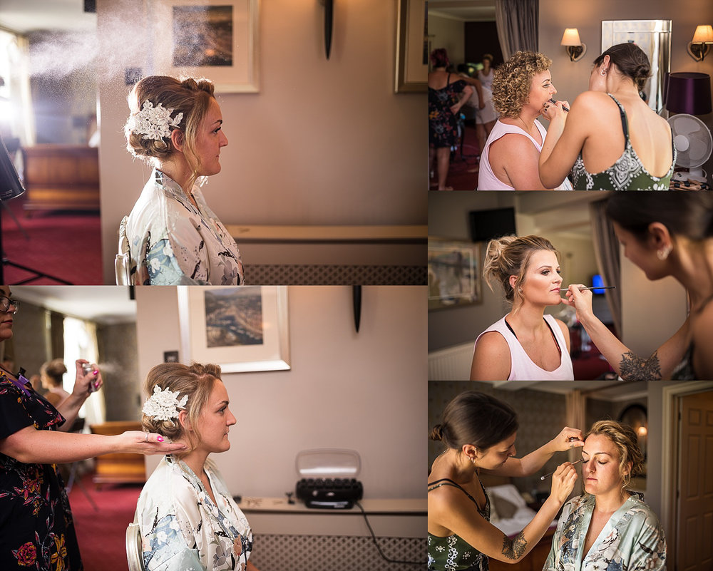 Bride getting ready clumber park hotel
