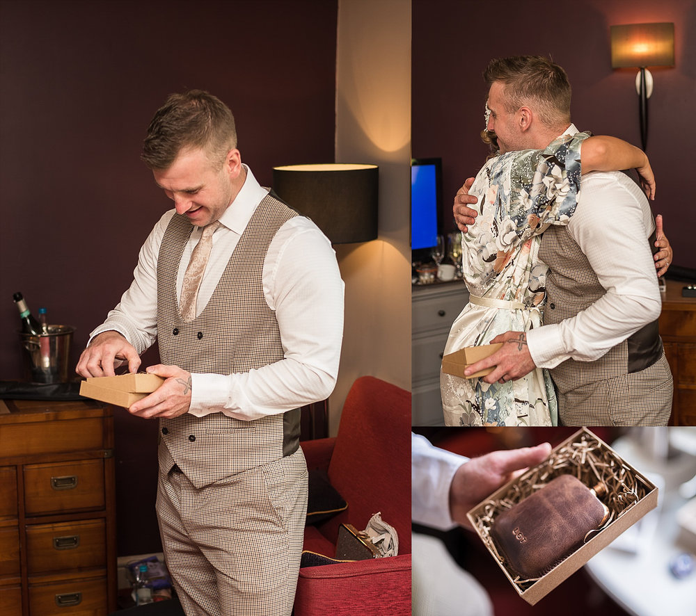 best man receiving gift from bride