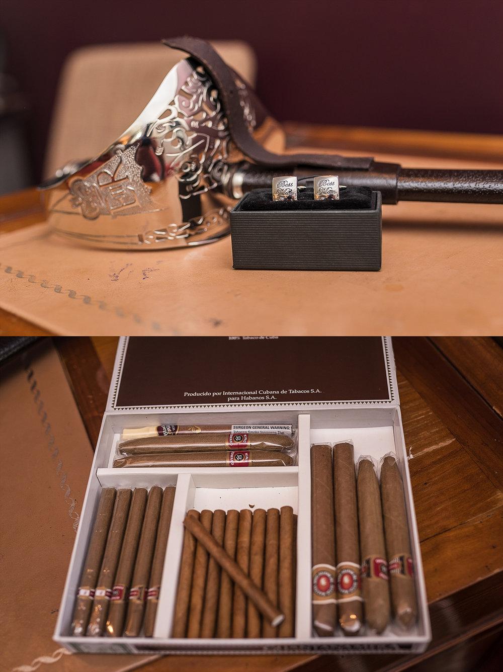 bridal prep wedding cigars