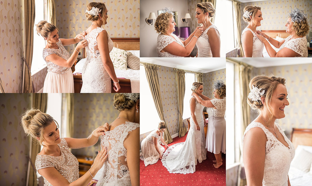 MOB and maid of honour helping bride getting ready