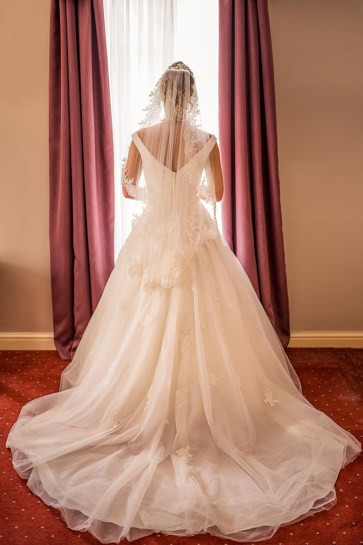 stunning bridal window portrait