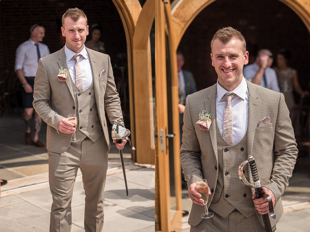 Best man after ceremony courtyard Hazel Gap Barn