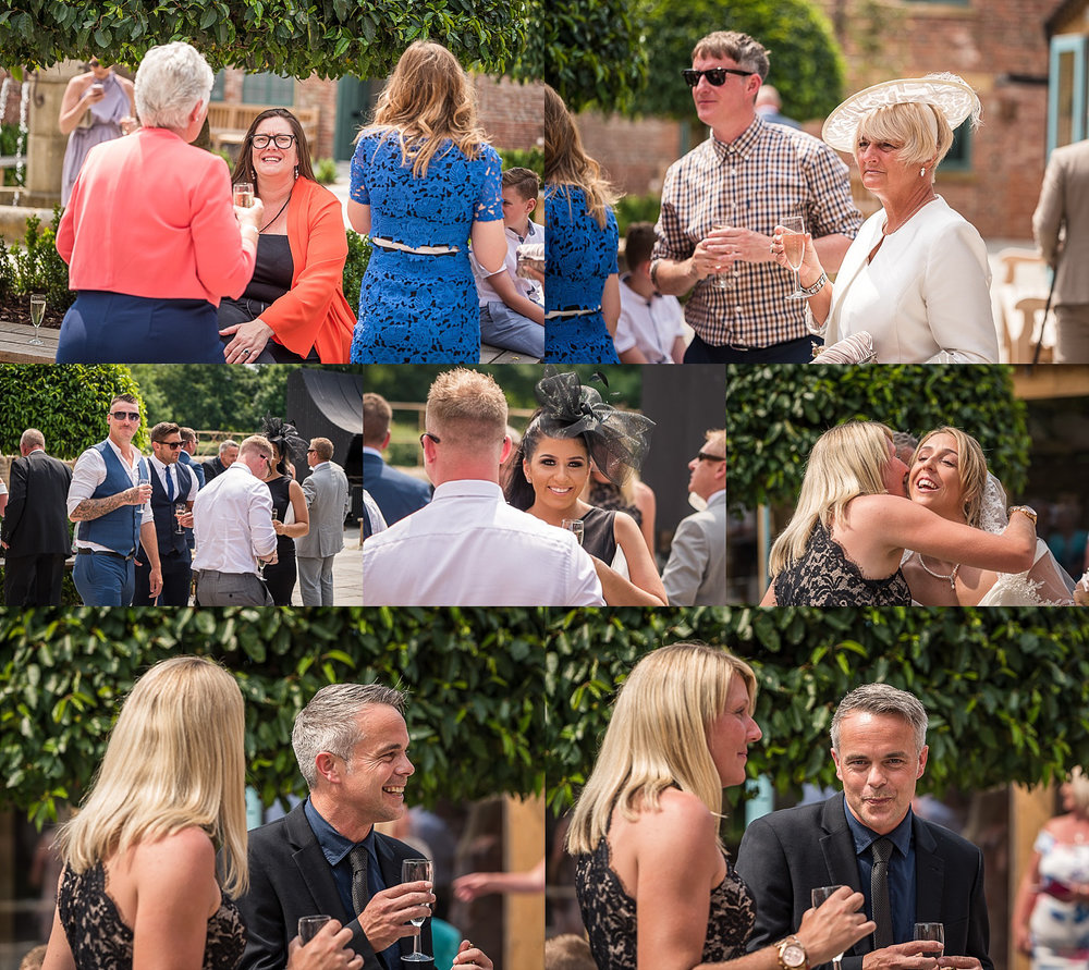 wedding guests enjoying after ceremony drinks