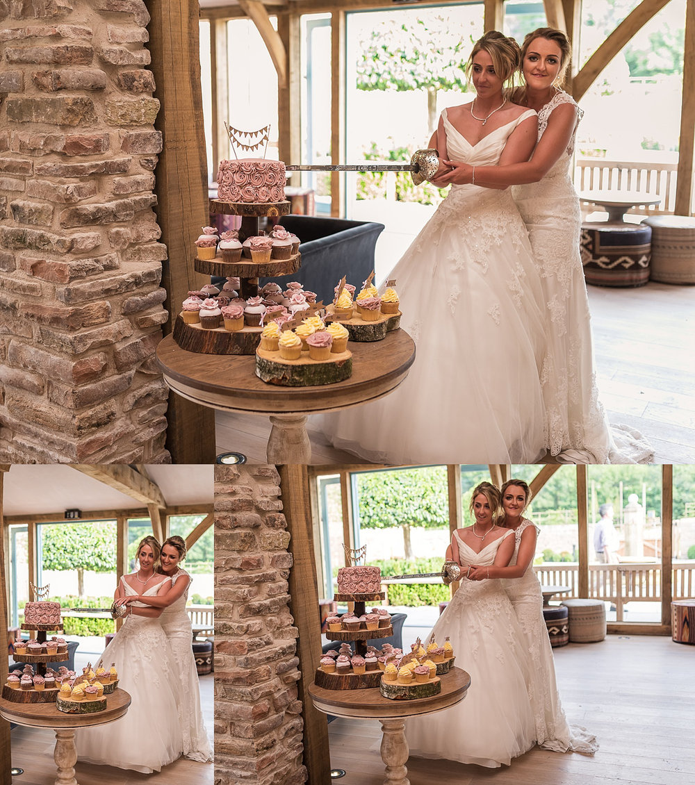 Brides cut cake at LGBT wedding