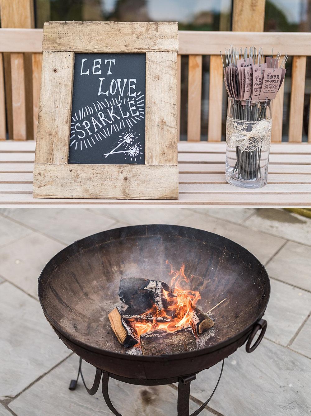wedding sparklers and open firepit Hazel Gap Barn