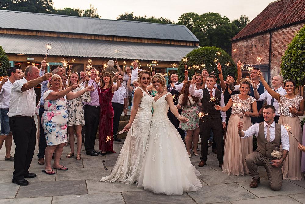 Hazel Gap Barn Courtyard sparkler exit wedding