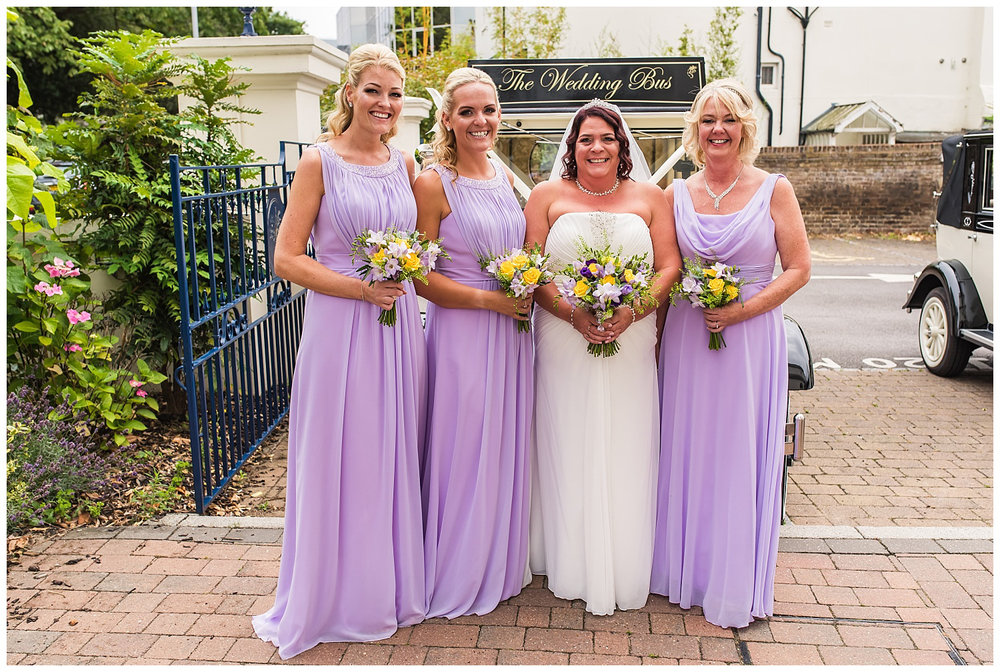 bride and bridesmaids outside glenmore house