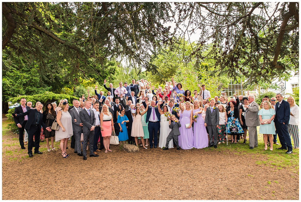 Claremont gardens fun wedding group photo