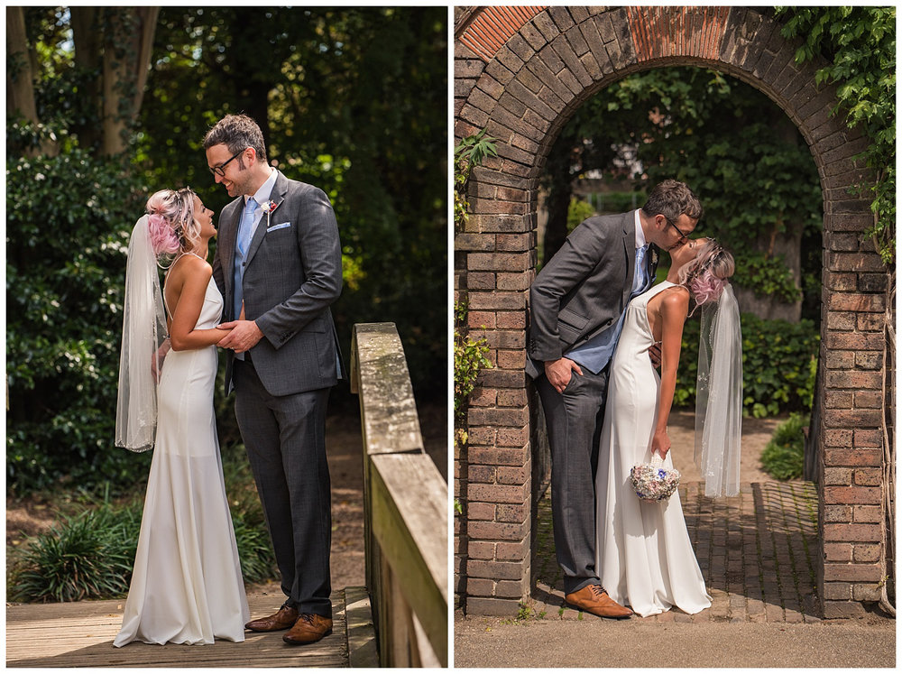 Bride and Groom portraits in York House Gardens | Richmond wedding