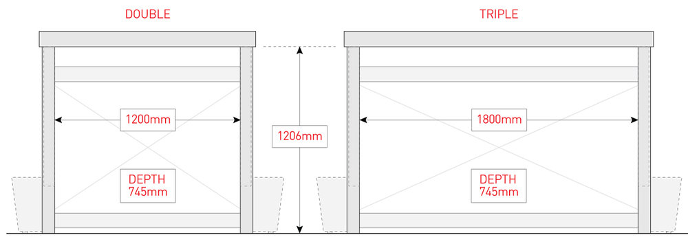 BinDock internal dimensions