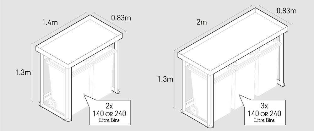 BinDock Wheelie bin store dimensions. For two and three wheelie bins.