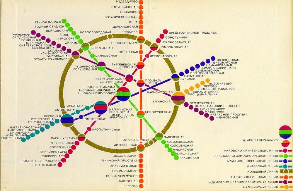 Схема линий московского метрополитена. 1980. Автор неизвестен