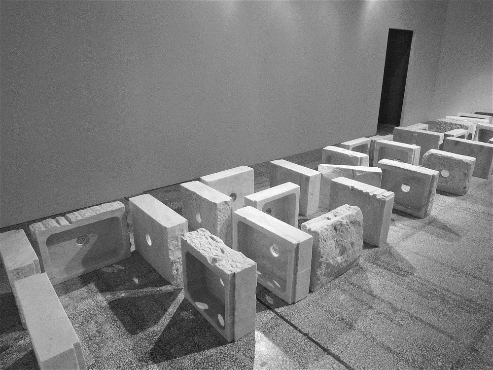 """""""Hollow mountain"""", 2011 Pendelic marble installation view Thessaloniki biennial 4 curated by Adelina Cuberyan van Furstenberg 2013"""