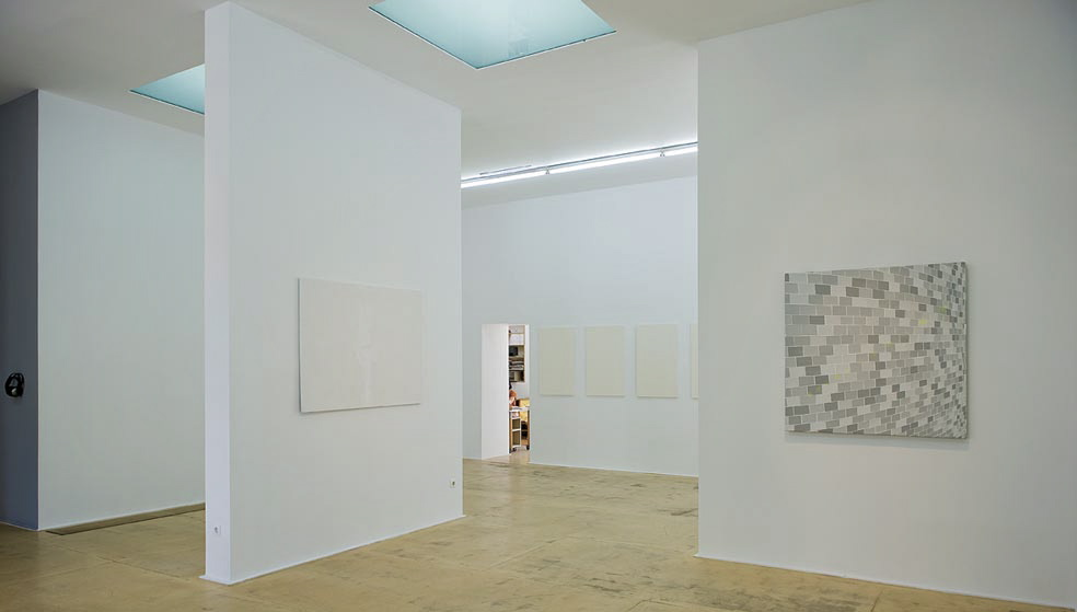 "works from left:  ""Bathed in light (braille)"" 2009, mixed media 100x140cm   ""Seascape"" 1996, collage  6 panels 100x50cm each.   ""Me and the solid wall"" 2010, acrylic on canvas 120x120cm"