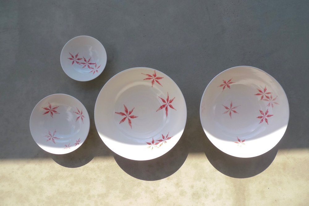 white ceramic body: red hexagon flower                                                                                           bowl 6x16cm (40 E),4x11cm(25E),3x9cm(15)