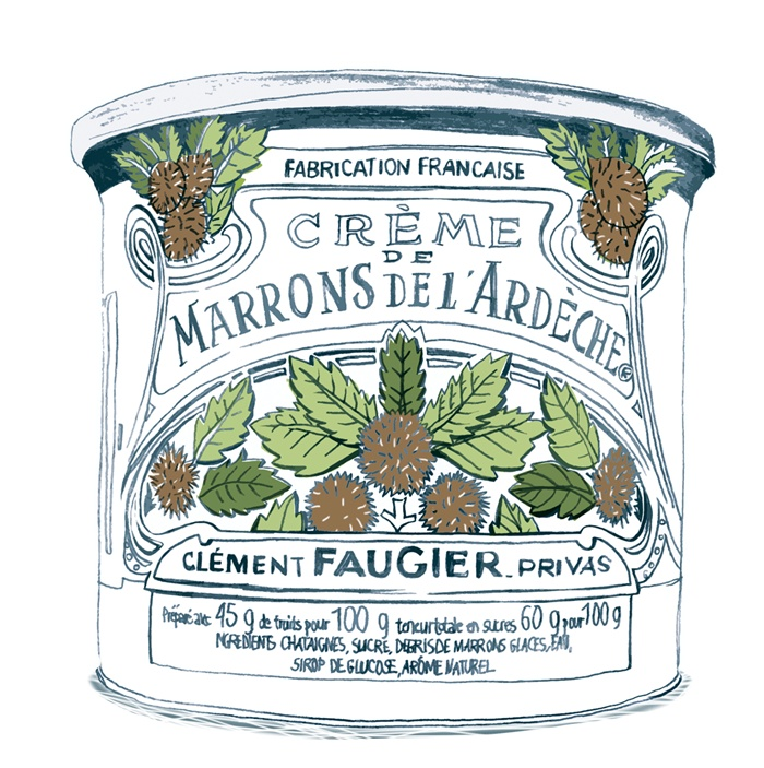 Design illustration of a Creme-De-Marrons food can