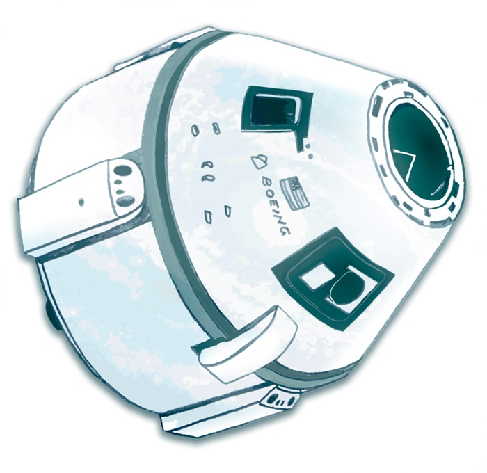 Drawing of a Boeing space capsule