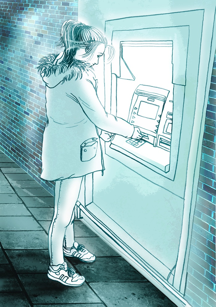 Girl using ATM machine illustration
