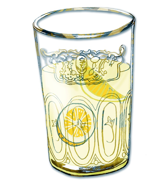 Line drawing of lemon-mint tea in glass