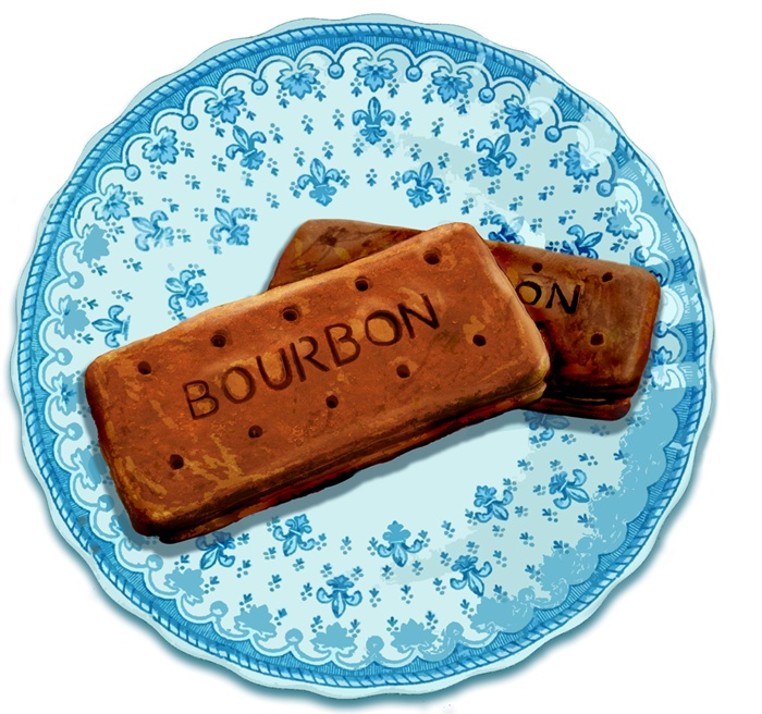 Painting of Bourbon biscuits in china plate