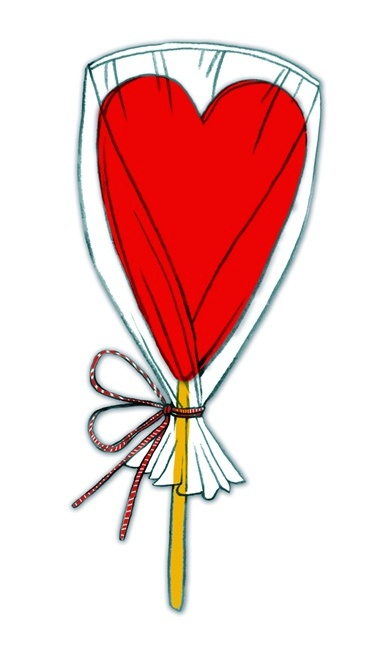 Heart shaped lollipop illustration