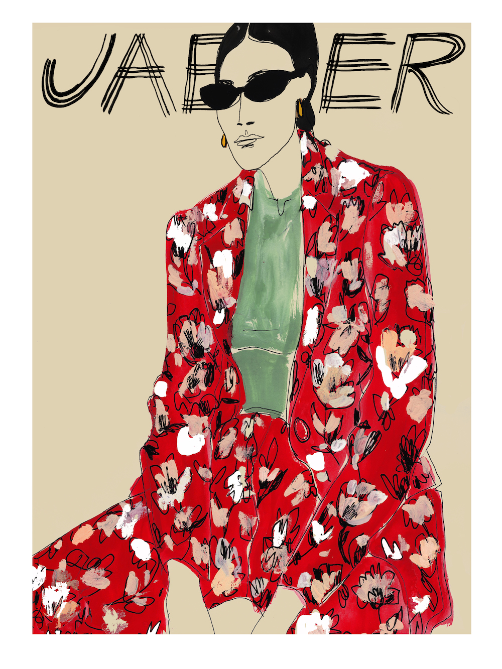 Rosie McGuinness for Jaeger Press Show. - Commissioned by Jaeger for the their Press Show for the new  SS18 collection. Pioneering style since 1884, Jaeger asked Rosie McGuinness to create  9 bespoke images illustrated directly from both the Menswear and Womenswear collections. Displayed on large screens amongst the clothes , with lucky members of the fashion press receiving a limited edition print of her work to take home.
