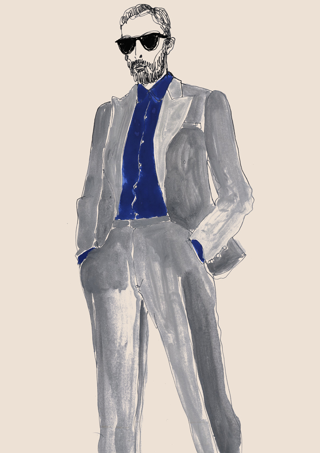 Watercolour Art Of Man in Casual Suits
