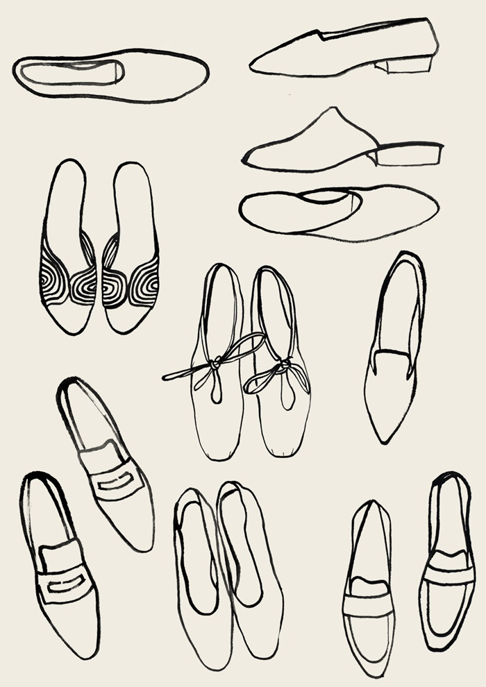 Line art of ladies footwear