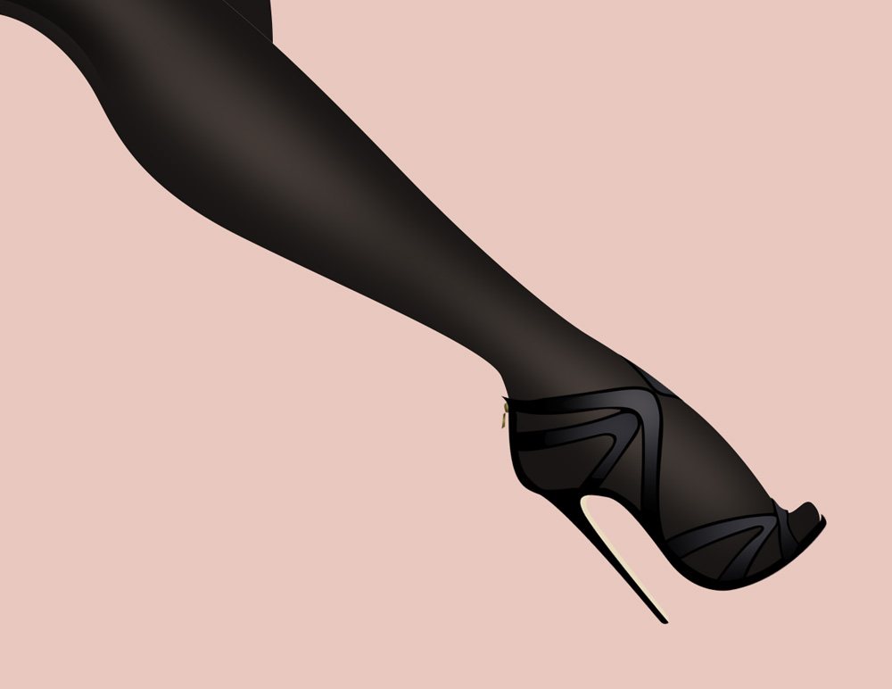 Detailed sketch of black designer stiletto
